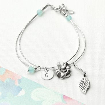 Personalised ForgetMeNot Friendship Bracelet & Topaz